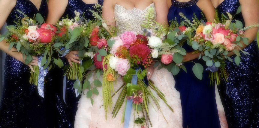 Bouquets in pinks and coral