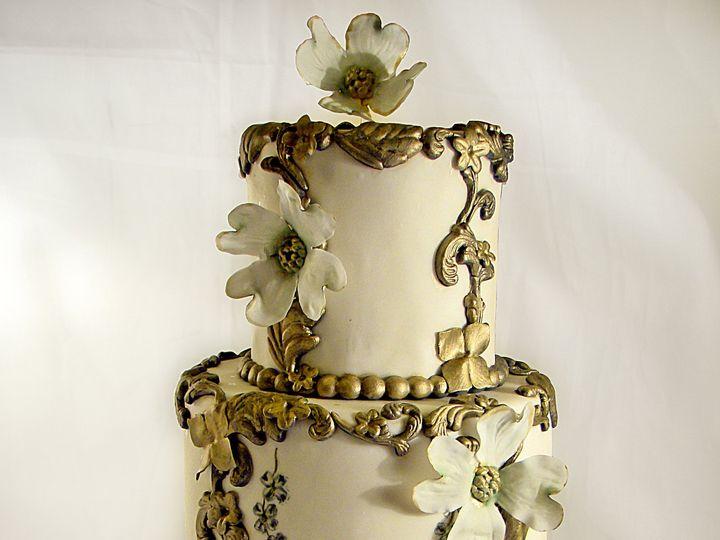 Tmx 1424291485245 Golden Gilded Cake Owosso wedding cake