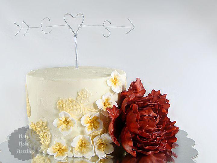 Tmx 1483378535849 Rusticpeonyweddingcake Owosso wedding cake