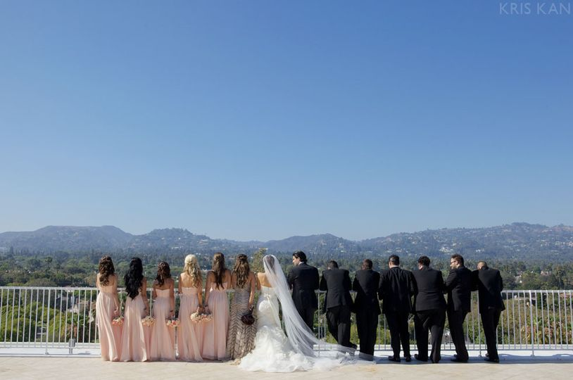 The bride and groom with friends