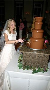 Bride getting chocolate