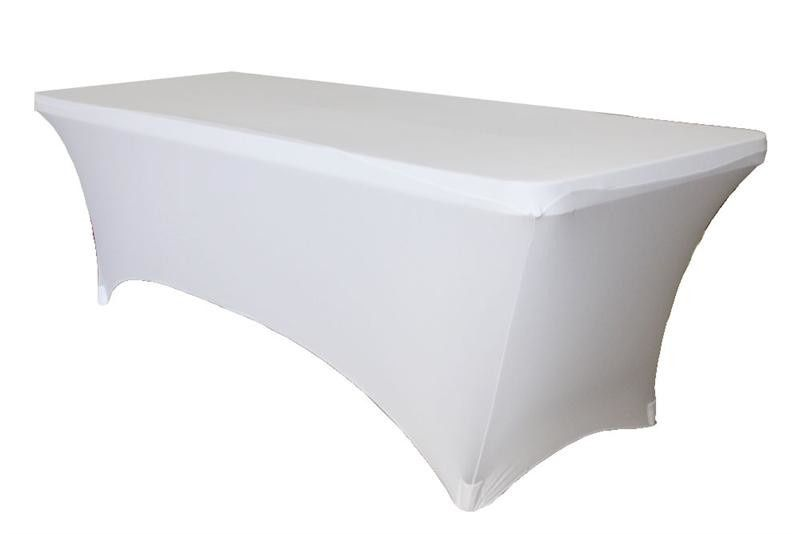 white stretch fabric table cover wholesale