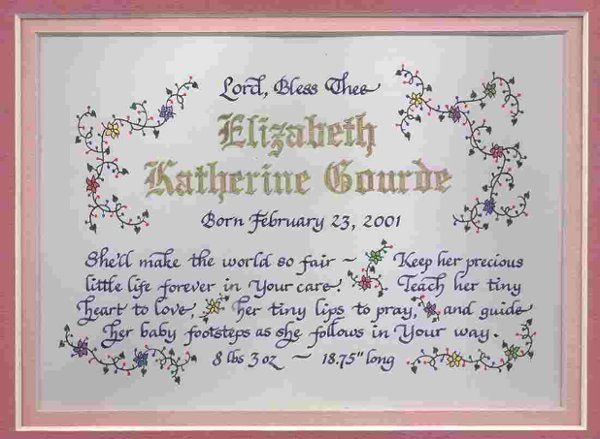 Personalized christening or birth blessing