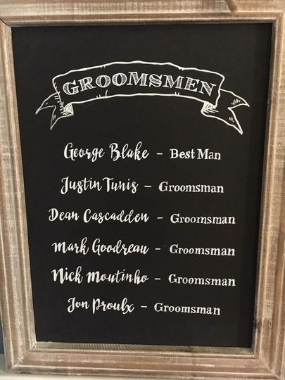 Chalkboard of the groomsmen