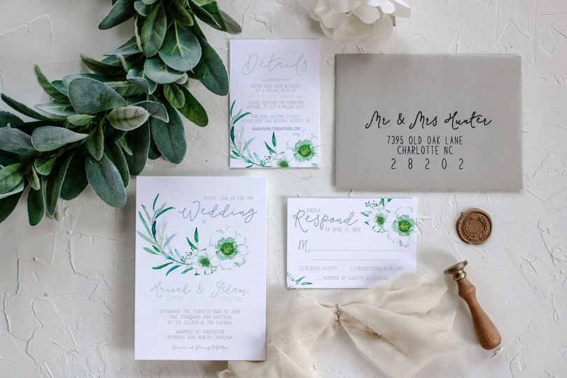 Simple greenery wedding invite