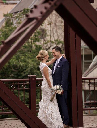 Couple by a bridge