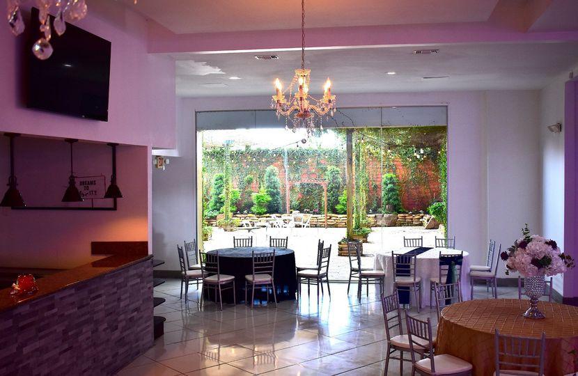 Garden view from bar