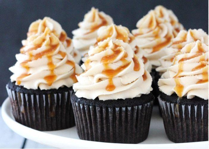 kahlua chocolate cupcakes with salted caramel