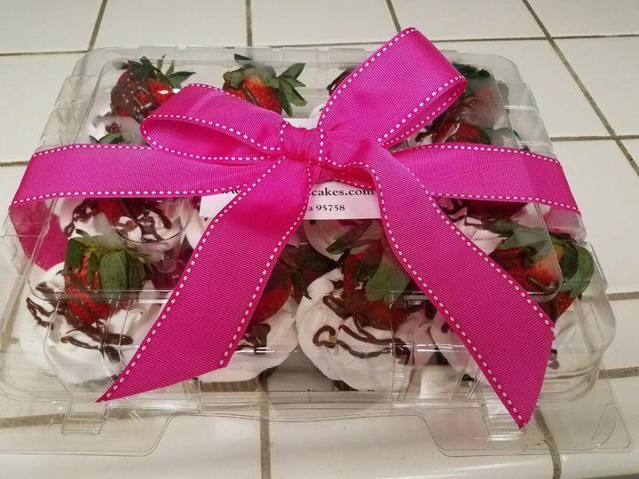 Tmx 1520017080320 Strawberry Pink Bow Elk Grove wedding cake