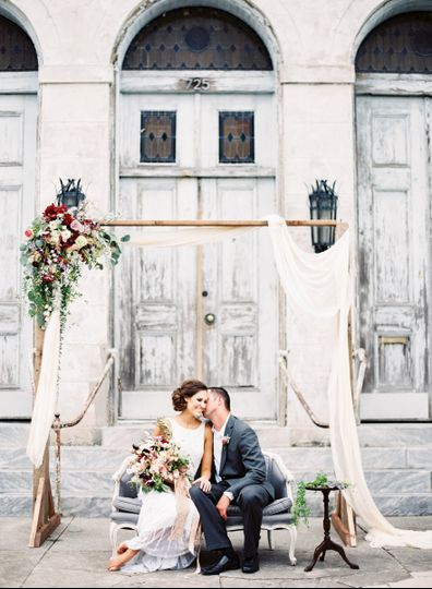 marigny opera house new orleans floral arch bride