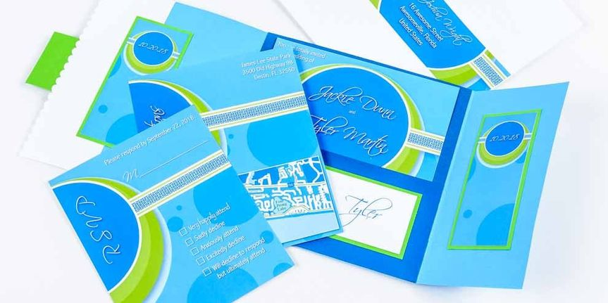 Sample blue and green invitation
