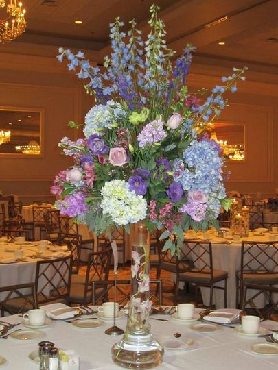 Table setup with fower centerpiece