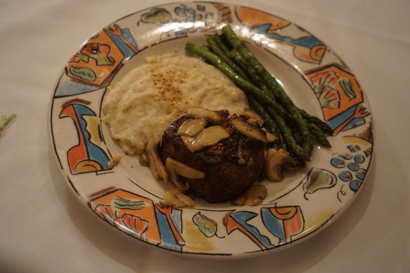 A Juicy and Succulent Steak topped with mushrooms. With a healthy and filling side of mashed...