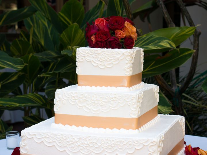 Tmx 1519260157 D5a1d6fc204f1c1d 1519260155 5ec55cd1b5637a51 1519260124293 9 Square Ribbon Wedd Fullerton, California wedding cake