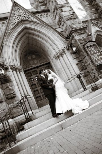 photography by Rodney Bailey Couple in front of church