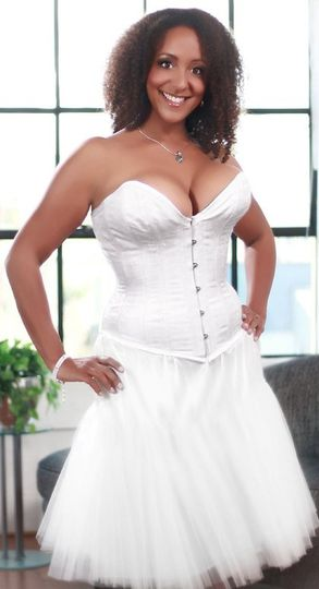 Meagan, a new bride, wearing her custom corset foundation garment to go under her wedding dress....