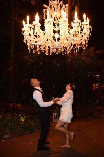 Dancing under the chandelier
