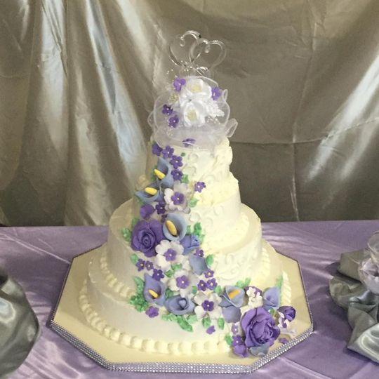 Purple floral decorations