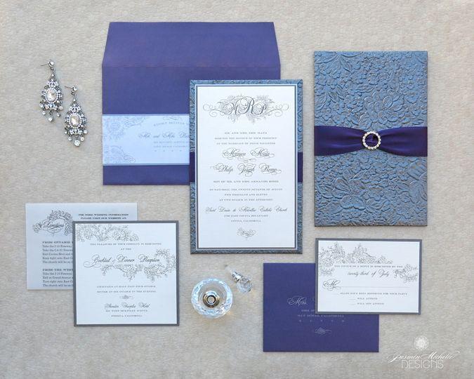 Original Design: Modern Vintage Elegance  This handmade invitation features embossed floral...