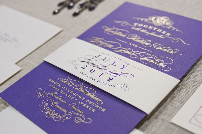 Iconic Love Collection: Cristina  Gold foil stamped invitation printed on shimmery violet hued cover...