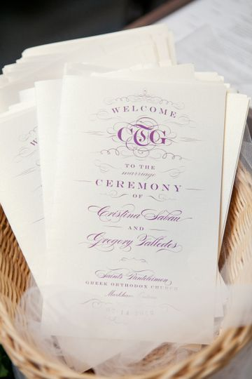 Iconic Love Collection: Cristina coordinating Ceremony Programs  Photo: Azure Blue Photography