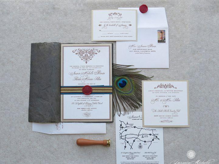 Tmx 1418785417955 Jasminmichelledesignsrealweddingjasminradu Glendora wedding invitation