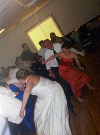 Guests having fun at a wedding reception.
