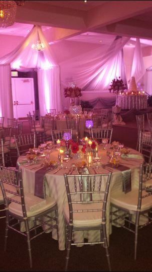 Table setup and pink uplighting