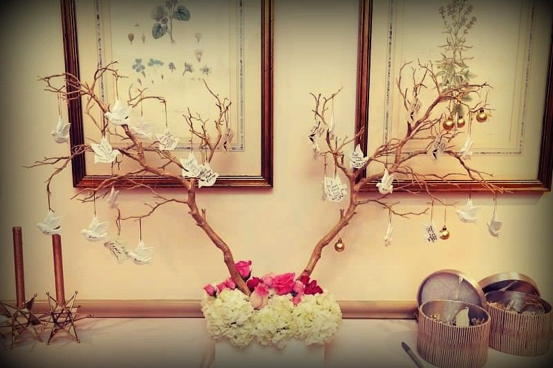 A fresh idea on a guest book - custom made wedding wishing tree - guests wrote their well wishes on...