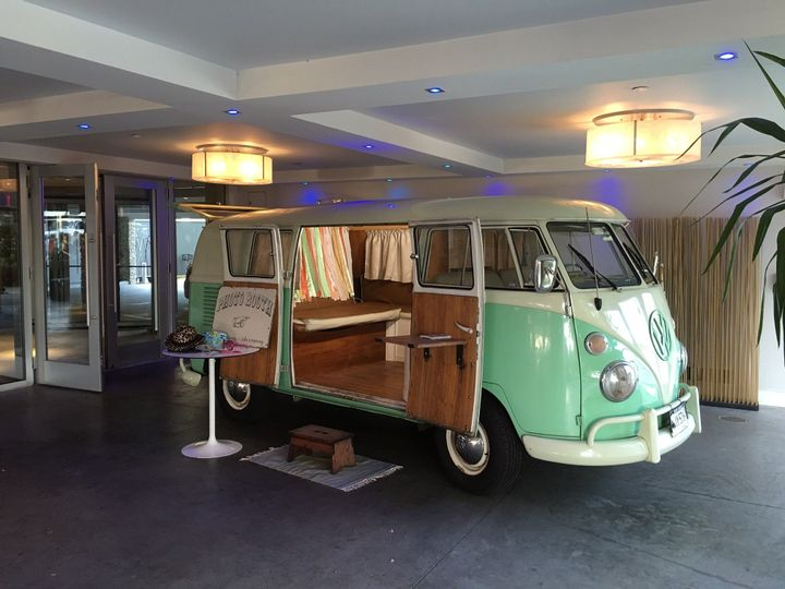 Chloe the VW PhotoBus set up for a wedding at 41 North in Newport, Rhode Island.