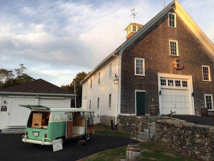 Chloe the VW PhotoBus set up for a wedding at Mt. Hope Farm in Bristol, Rhode Island.
