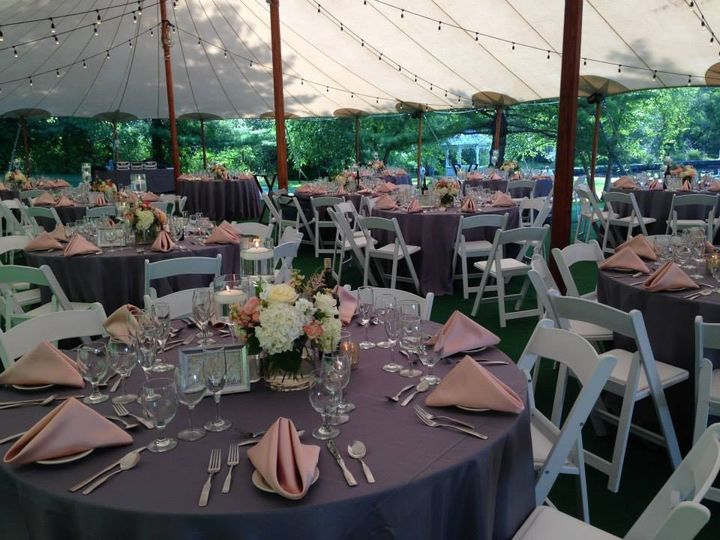 Table setup with   flower centerpieces