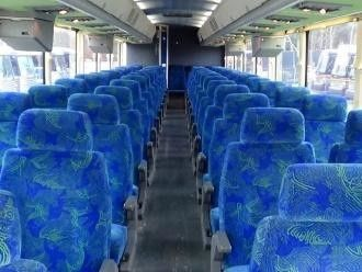 Bus with blue comfortable seats