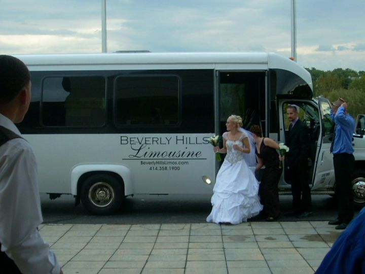Bride getting off the bus