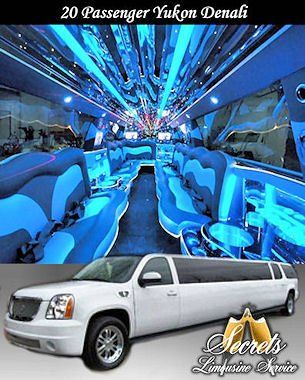 20 Passenger Yukon Denali stretch limo with with 2- LCD TVs, Premium DVD / AM / FM / CD with...