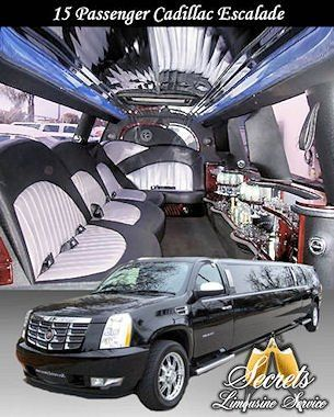 14 Passenger  Escalade stretch limo with with 2- LCD TVs, Premium DVD / AM / FM / CD with surround...
