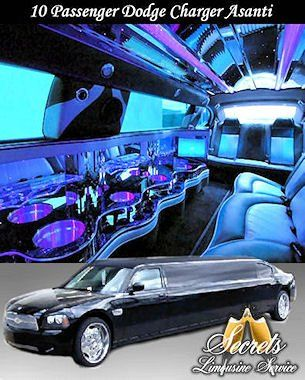 Black 10 passenger Stretch Charger Asanti limo with 2- LCD TVs, Premium DVD / AM / FM / CD / IPod...
