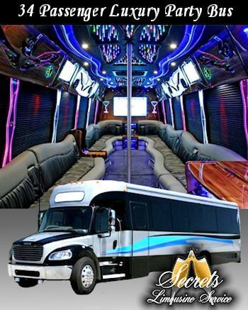 "34 Passenger Limo party Bus with One (1) 52"" LCD TV, Five (5) 19"" LCD TV's, In motion satellite tv..."