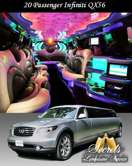 20 PASSENGER INFINITI QX56 STRETCH LIMO WITH 5-LCD TVs, PREMIUM DVD/AM/FM/CD/I-POD WITH SURROUND...