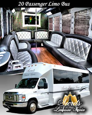 "20 PASSENGER WHITE LIMO BUS WITH HARDWOOD FLOORS OR CARPET, 42"" FLAT SCREEN TV, 15"" FLAT SCREEN TV,..."