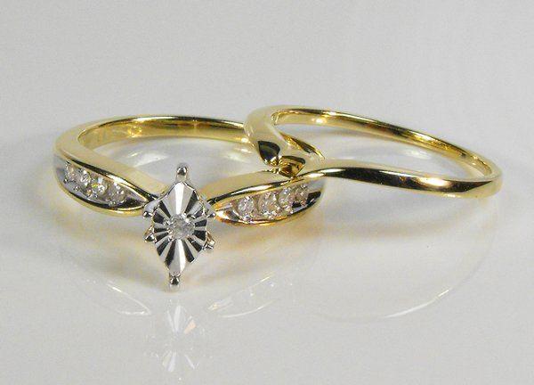 Elegant 0.20 ct Diamond Wedding Ring Set 14k