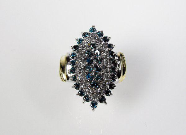 Stunning 2.0 ct Blue & White Diamond Ring