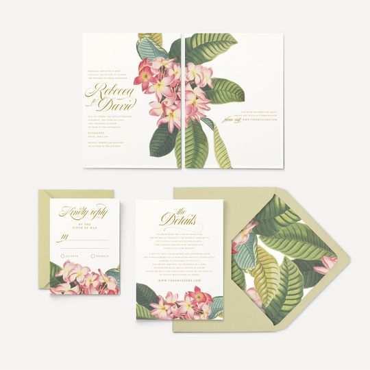 plumeria banana leaf wedding invitation