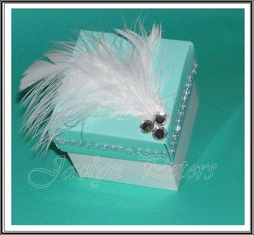 Aqua Crystals & Feathers Favor Box
