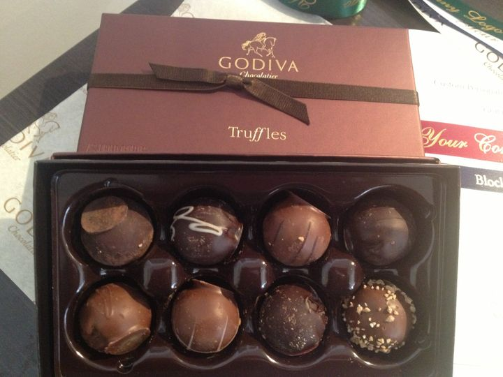 You can mix and match.  White, milk or dark chocolates.  We have solids, truffles, specialty flavors...