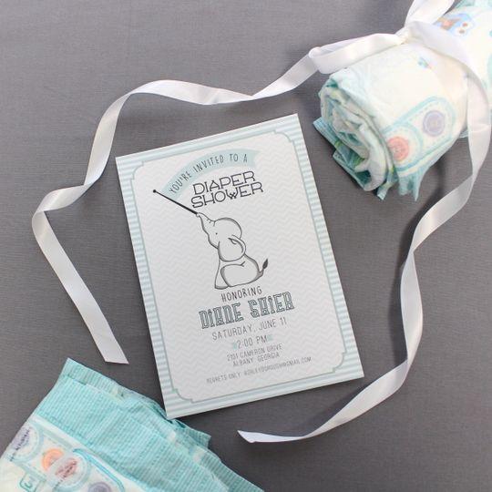 baby shower elephant diaper