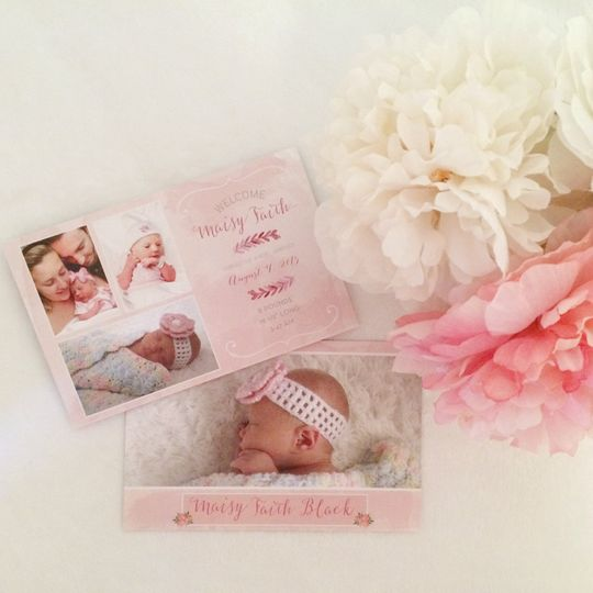 birth announcement pink watercolor