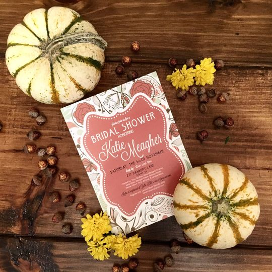 bridal shower fall floral invite