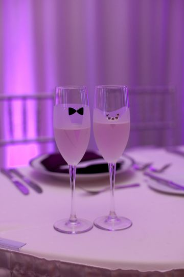 His and hers champagne toast