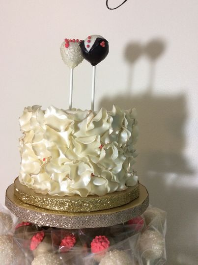 A close up of the bride and groom cake pop toppers all decked out and ready for the big day.
